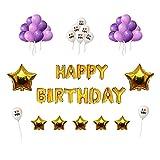 Globos para Cumpleaños Fiesta IvyLife Globos Púrpuras y Blancos de Decoración para Cumpleaños con Globos de Estrella, Inflador, Adhesiva, Cinta, Globos de Papel de Aluminio HAPPY BIRTHDAY - Dorado