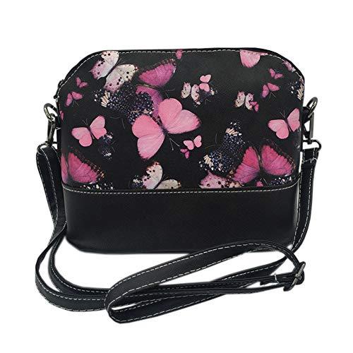 CIIXI Handtasche Damen Handtaschen Damen Taschen Leder Designer Messenger Schultertasche Umhängetaschen Für Damen Tasche Mit Schmetterling Libelle Floral Butterfly -