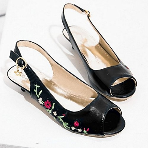 TAOFFEN Damen Beilaufig Peep-toe Open Back Schuhe Schnalle Kitten-heel Embroidered Sandalen Schwarz