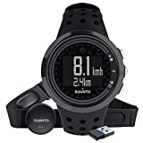 Suunto, Herren Fitness-Uhr, Herzfrequenzmesser +  Brustgurt, Erweiterte Herzfrequenzfunktionen, Wasserdicht bis 30 m, M5 MEN ALL BLACK PACK, Schwarz, SS018260000