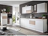 moebel-eins Bary Küche, Material Dekorspanplatte, Weiss matt/Eiche sonomafarbig