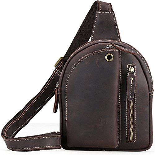 FZHLY Herren Persönlichkeit Freizeit Chest Tasche Leder Multifunktions-Schultertasche Messenger Bag,Brown DarkBrown
