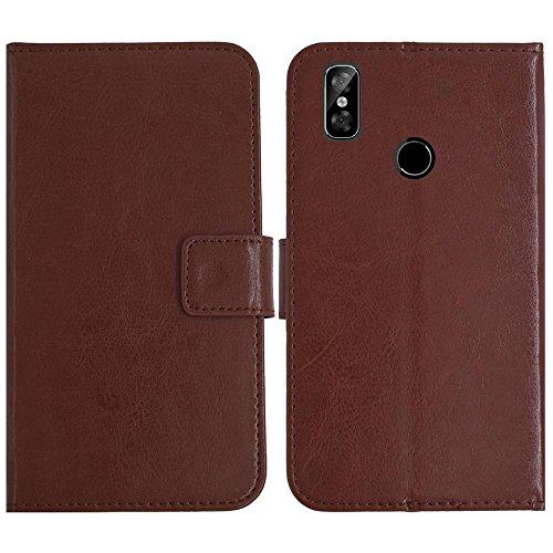 TienJueShi Brown Flip Book-Style Brief Leder Tasche Schutz Hulle Handy Case Abdeckung Fall Wallet Cover Etui Skin Fur M-Horse Pure 2 5.99 inch
