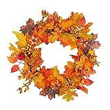 johlye La Couronne de Porte Avant d'automne Harvest Silk illumine Le décor de la Porte d'entrée avec des Couleurs d'automne Riches, approuvées pour Une Utilisation extérieure Couverte