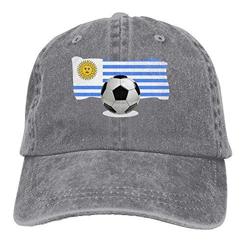 Balón de fútbol para Hombres y Mujeres con Gorra de béisbol Vintage Jeans de Bandera de Uruguay