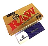 MontCherry Brand Exclusive Tips Pack and Raw Classic Single Wide Double Pack Rolling Papers 70mm 100 Papers/Pack - 5 Packs Combo Deal Sold by Trendz