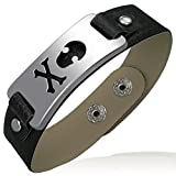Zense-Pulsera para hombre, diseño elegante Zense ZB0061 de piel sintética y acero, diseño de calavera y style-Reloj