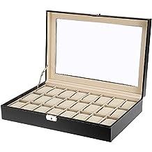 Caja de relojes madera, Uten estuche para relojes y joyeros con 24 compartimentos,Negro (24 watch)