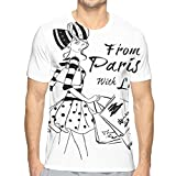 3D Printed T Shirts,from Paris with Love Fashion Hand Drawn Girl Figure Shopping Polka Dot Design Skirt S