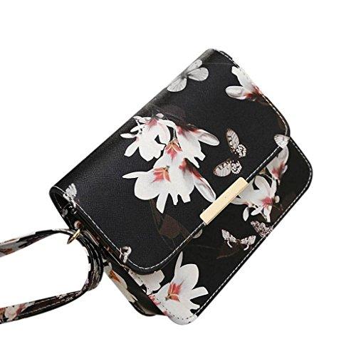 VENMO Frauen Blumen PU-Leder Schultertasche Satchel Handtasche Retro Kuriertasche (Black) (Luxe Leder-satchel)