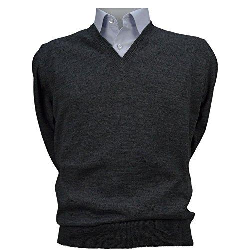 Maglione uomo pullover scollo v misto lana merinos extrafine iacobellis made in italy m 44/46 grigio antracite