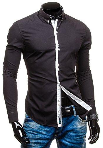 BOLF Herren Langarm Herrenhemd Figurbetont Freizeit Classic Slim Fit 5814 Schwarz
