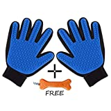 #7: Goofy Tails Super Touch Five Finger Deshedding Grooming Glove For Dogs & Cats (One Pair,Blue)