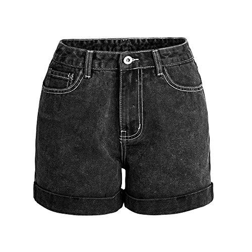 FANCYKIKI Lässige Jeansshorts mit Roll-up-Manschette for Damen Mädchen Summer Beach Shots Stylish (Farbe : Schwarz, Size : L) - Manschette Denim Kurze