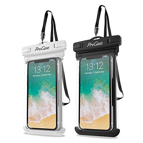 "ProCase Bolsa Estanca Universal, IPX-8 Funda Impermeable para iPhone X/XS Max/XR/8/7/6S Plus, Galaxy S7/S6/J7/J5/J3, Huawei P9/P8 Lite, Xiaomi A1/Redmi Note 5, hasta 6,5"" -2 Unidades, Blanco/Negro"