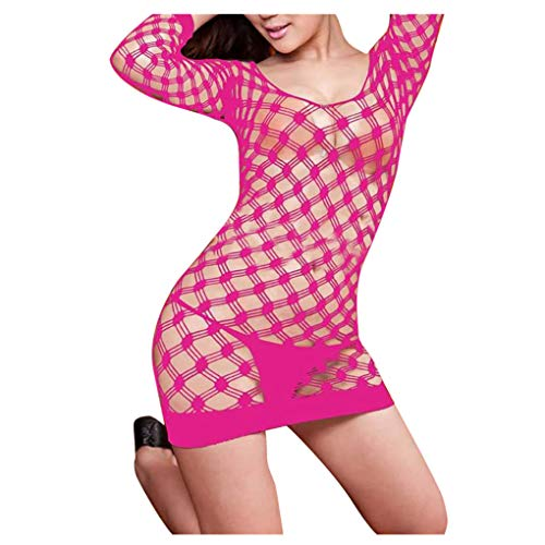 WHSHINE Dessous Damen Reizunterwäsche Babydoll Frauen Netzkleid Unterwäsche Underwear Nachtwäsche Minikleid Reizwäsche Reizvolle Verlockend Damenwäsche Sexy Nachthemd (Pink,Free)