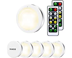 Under Cabinet Lights, Bawoo Wireless LED Puck Lights Remote Control, 4000K Natural White Brightness Dimmable Battery Powered