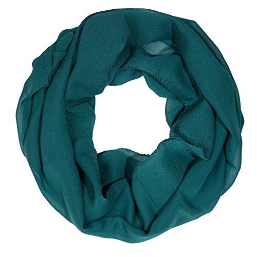 ManuMar Loop-Schal für Damen   feines Hals-Tuch mit Unifarben   Schlauch-Schal in Dunkel-Grün - Das ideale Geschenk für Frauen