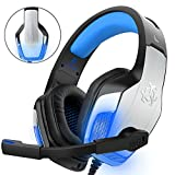 Gaming Headset für PS4 Xbox One PC Controller, DIZA100 V4 Gaming Kopfhörer mit Aluminiumgehäuse, Mikrofon, LED Light Bass Surround für Computer Laptop Mac Nintendo Switch Spiele-Blau