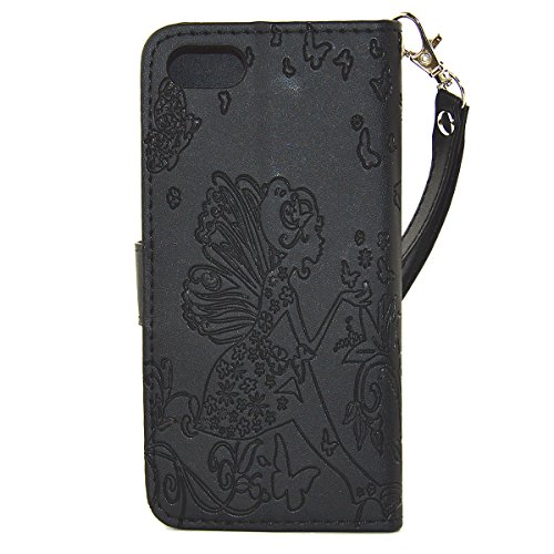 iPhone 7 Hülle,iPhone 7 Ledertasche Handyhülle Brieftasche im BookStyle,SainCat PU Leder Hülle Wallet Case Folio Schutzhülle Kristall Glitzer Diamant Strass Campanula Blume Muster Lederhülle Scratch B Blumen-Fee-schwarz