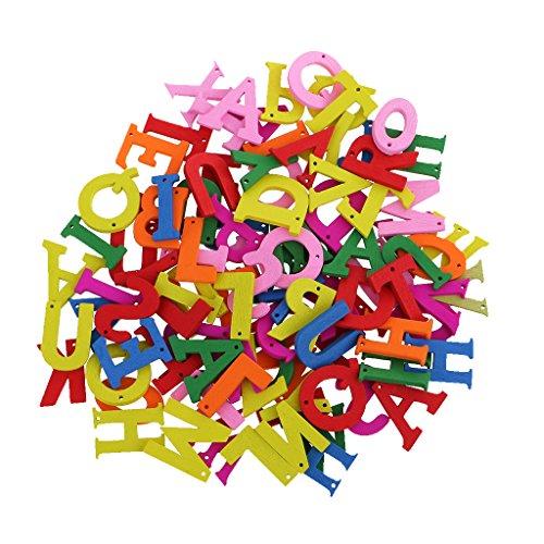 sharplace 100Stück/lot Colorful Alphabet A to Z Buchstaben Knöpfe aus Holz DIY Nähen Craft Scrapbooking Karte DIY