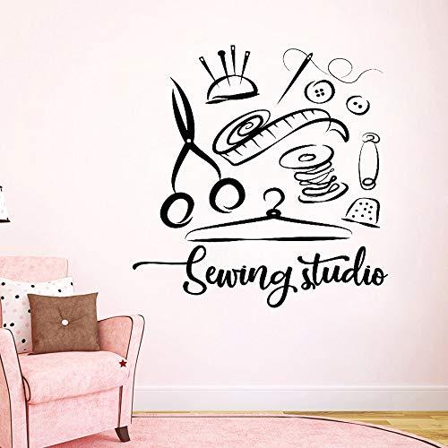 zhuziji Adesivo da Parete per Studio da Cucire Atelier Decorazioni per la casa Decalcomanie da Muro in Vinile Decorazioni Fatte a Mano Decorazione per Finestra Adesivi Rimovibili Muraux63x64.5cm