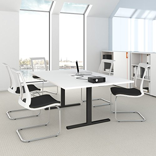 EASY Konferenztisch 200x120 cm Weiß mit ELEKTRIFIZIERUNG Besprechungstisch Tisch