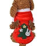RETUROM Ropa para Mascotas de Navidad, Lindo Alce con Capucha Abrigo de Ropa para Mascotas (Rojo, S)