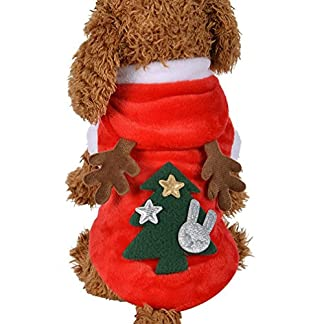 RETUROM Ropa para Mascotas de Navidad, Lindo Alce con Capucha Abrigo de Ropa para Mascotas