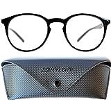 Nerd Blaulichtfilter Lesebrille | Anti Blaulicht Brille mit großen runden transparenten Gläsern | Inklusive GRATIS Etui | Kunststoff Rahmen (Schwarz) | Anti Blaulicht Brille für Damen und Herren von Mini Brille | +1.5 Dioptrien