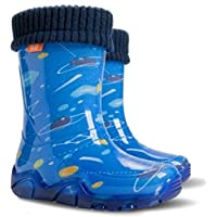 KIDS RAIN WELLINGTON Rainy Snow Boots Shoes Socks Children Wellies _Space