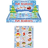 12 Packs of Christmas Fun Stickers - Great Stocking Filler, Party Bag Filler or Favor