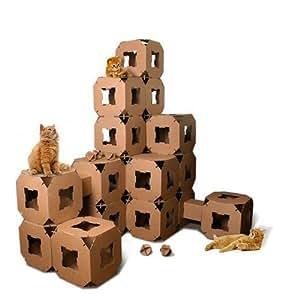 new cube maison tour pour chat jouet pet tunnel en carton. Black Bedroom Furniture Sets. Home Design Ideas
