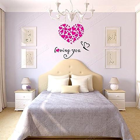 Creative in acrilico di nozze 3D Wall stickers salotto camera da letto veranda sala da pranzo decorazioni murali Stickers,Mary Kay ROSSO + NERO,poco