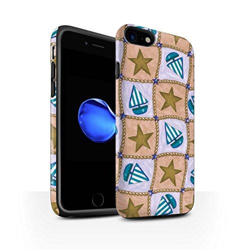 STUFF4 Matte Harten Stoßfest Hülle / Case für Apple iPhone 8 / Türkis/Orange Muster / Boote und Sterne Kollektion Braun/Blau