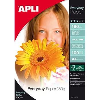 Apli 11475 Pochette de 100 feuilles papier photo brillant Everyday 180g A4