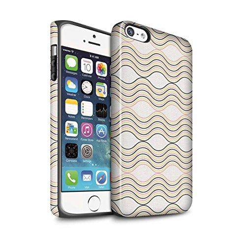 Coque Matte Robuste Antichoc de STUFF4 / Coque pour Apple iPhone 8 / Sarcelle À Pois Design / Mode Hivernale Collection Rayures Ondulées