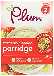 Plum Baby Organic Stage 2+ Four Grain with Strawberry and Banana Porridge 250 g (Pack of 4)