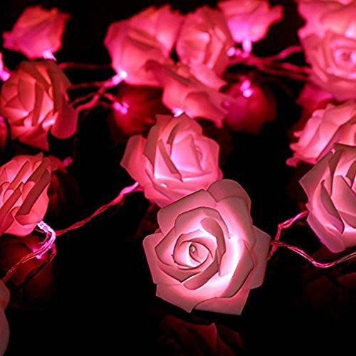 FRE 2M 20 LED Batterie Rose Flower Fairy String Lights ideal für Hochzeit Partei Weihnachtsdekoration - rosa Licht