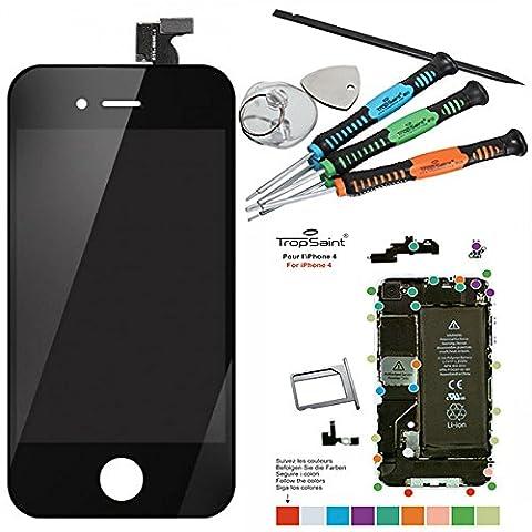 Trop Saint ® Vitre tactile NOIRE pour iPhone 4 + écran LCD NOIR Retina prémonté avec chassis - Changez vous même
