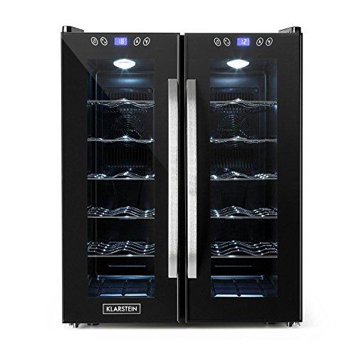 Klarstein SaloonNapa • Weinkühlschrank • zweitüriger Getränkekühlschrank • niedriges Betriebsgeräusch • 10 Einschübe • Temperaturbereich: 11 bis 18 Grad • 67 Liter Volumen • 24 Weinflaschen • schwarz