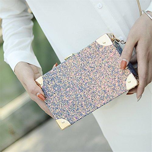 Lawevan® Frauen L19cm * H19cm * W5cm PU Leder Steigung Ramp Clutch Sequin Box Taschen Rosa