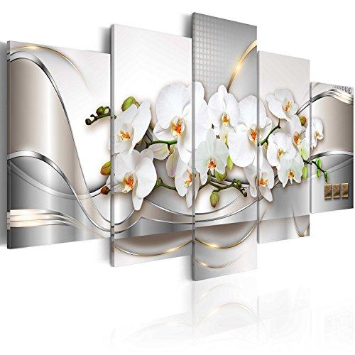 murando - Cuadro en Lienzo Orquidea 200x100 cm Abstracto Impresión de 5 Piezas Material Tejido no Tejido Impresión Artística Imagen Gráfica Decoracion de Pared Arte Flores a-A-0004-b-n