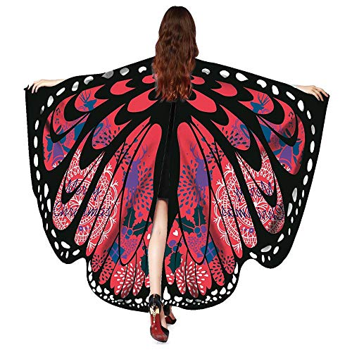 (UJUNAOR Männer Damen Schmetterling Print Cape Schal Weihnachten Poncho Wrap Kostüm für Camping Outdoor Aktivitäten(Z-Weinrot,One Size))