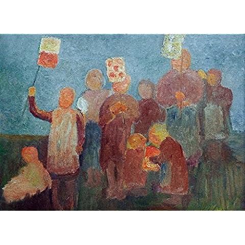"""Stampa artistica / Poster: Paula Modersohn-Becker """"Children with Lanterns"""" - stampa di alta qualità, immagini, poster artistici, 95x70 cm"""