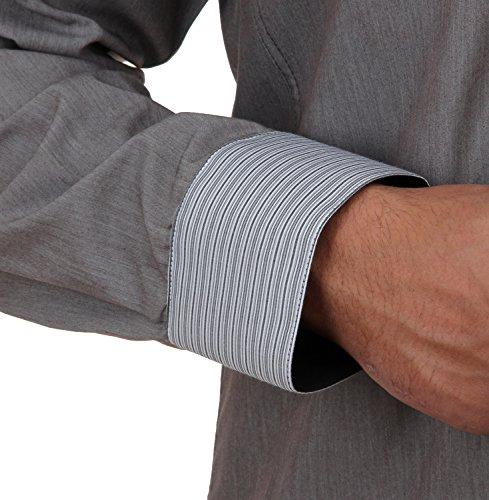 Slim Fit Designerhemd in Grau/meliert, für Herren BESTE QUALITÄT, HK Mandel Langarm Freizeithemd mit ellenbogen patches, 2053 Grau Meliert