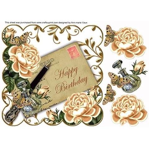 Peach ahorro de rosas feliz cumpleaños de tinta 8in Decoupage Topper por Ann-Marie Vaux