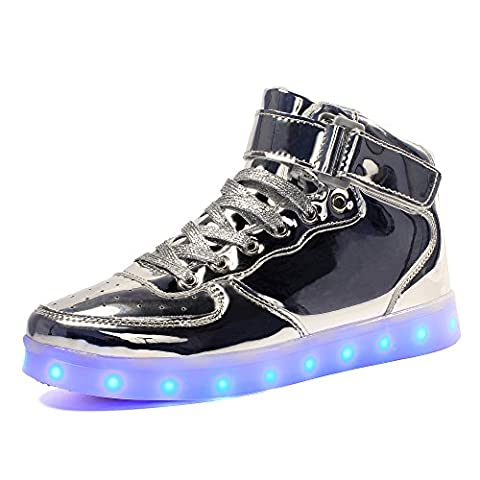 Voovix Kinder USB Aufladen Led Licht Blinkt High-top Sneaker für Jungen und Mädchen (Silber, EU36/CN36)