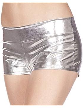 Mujeres Metálico Falso Cuero Mojado Mira Mini Shorts PVC Brillante Hot Pantalones