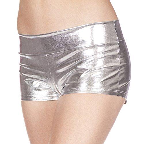 Silber-metallic Led (Frauen Metallic Faux Leder Wet Look Mini Shorts PVC glänzend Hot Pants)